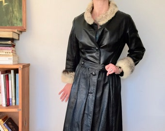 Urban Princess coat,  black calf's leather and fur cuff and collar, skirted  banded waist, detailed tailoring, mod princess coat, 60s