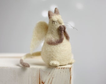 Needle Felt Cat Angel - Dreamy Cat Angel - Felted Art Doll - Guardian Cat Angel - Art Doll - Needle Felt Cat Angel - Needle Felt Animals