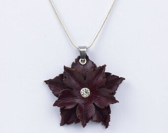 Leather Flower Pendant in Beige or Dark Red