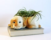 Vintage Ceramic Planter - Puppy Dog Planter - Indoor Garden Decor - Air Plant Holder - Ceramic Dog Figurine - Dog Sculpture - Succulent Pot