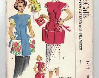 Vintage 1950s Cobbler Apron Pattern McCall's 1713 Bust 32-34, Contrast Pockets, Pot Holders Cut & Complete