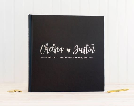 Wedding Guest Book with Real Silver Foil guestbook custom monogram 12x12 book personalized instant photo wedding gift sign in hardcover