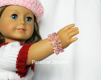 18 inch American Doll, Heart Valentine Jewelry, Bead Doll Bracelets, American Girl, Pink Heart Gift Set, Jewelry Set, Doll Size, Child Size