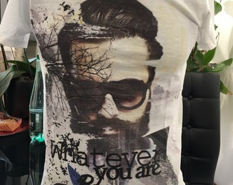 White Cotton Screen Printed Tee Shirt.