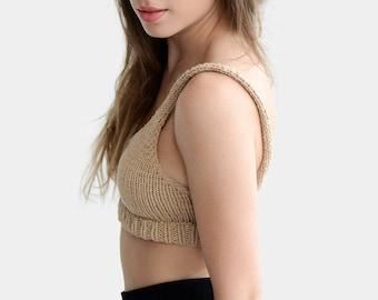 Cotton Bralette, Womens Yoga Tops, Hand Knit Bra, Fitted Crop Top, Cropped Yoga Top, Cotton Bra Top, Custom Knit Bra, Beige Knit Bralette