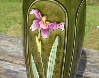 Vase Five Lille Antique French Majolica A G De Bruyn Iris Flower Vase Art Nouveau French Majolica Fully Marked Authentic Barbotine