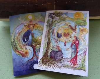 A5 Notebook Set, Celtic Shaman, Pack of 2, workbook, Shamanic workshop, Goddess Retreat, Journal, Deer Medicine, Cerridwen, Elen of the Ways