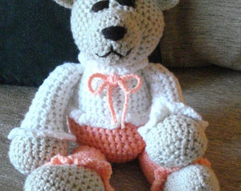 "Crocheted teddy bear stuffed animal doll toy ""Elsie"""
