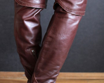 outstanding designer ITALY handmade OVERKNEE cowgirl pointy toed boots. Burgundy. thigh high cowboy boots otk