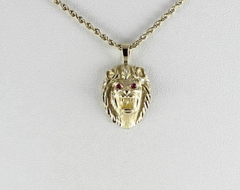 Lion Head Ruby Eyes 14k Yellow Gold  Antique Pendant