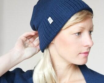 Blaue Merino Mütze, sehr weich, hautfreundliche marinefarbene Strickmütze, kein Kratzen