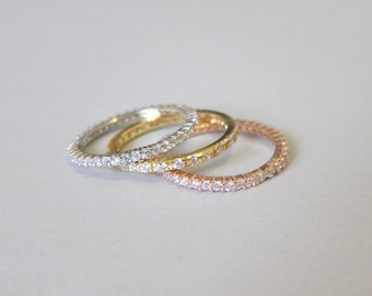 CZ Stackable Ring Rose Gold Band Tiny