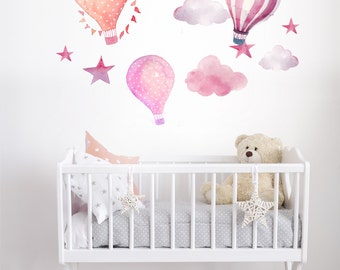 Hot Air Balloon Watercolor Wall Decal Kit - Peel and Stick - kids, babies, nursery R0027