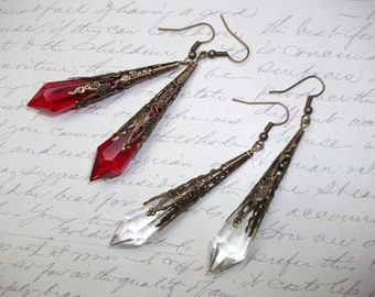 Crystal point antique brass filigree earrings in red or clear