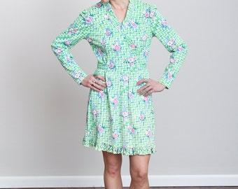 1970s Sea Foam Green Zig Zag Floral Print Long Sleeve Mini Dress - Retro - Hippy - Ruffled - Mod - Long Sleeve • S