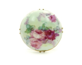 Vintage Hand Painted Brooch, Pink Roses, Porcelain, C Closure