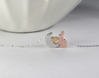 Rose Gold Bunny Necklace , Rabbit necklace,Moon Heart Necklace,Easter gift,Mother's Day Gift,Animal Necklace.I love you to the moon and back