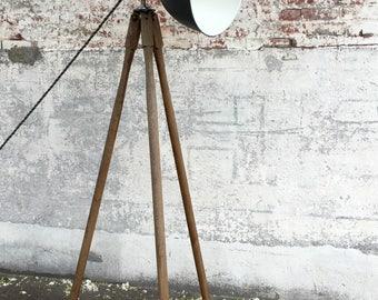 Wood Floor Lamp, Wood Tripod, Wood Tripod Lamp, Surveyors Tripod, Tripod Floor Lamp, Industrial Floor Lamp, Reclaimed Wood Lamp