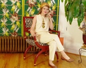 Vintage 1980s Buttercream Knit ST JOHN Set . Pants & Shell . Classic 80s High Waist Hip Pleat Style . Sleeveless Shell . Arty Hip Playsuit