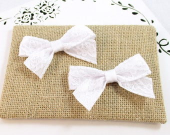 White Lace Hair Clips, Lace Hair Bows, White Satin Bow, 3 Inch Bow, Flower Girl Bows,  Communion Bows, Toddler Lace Bows