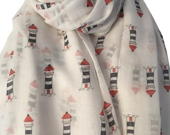 White Lighthouse scarf,  Red and Blue Lighthouses, Ivory Coloured Nautical Theme Wrap Shawl
