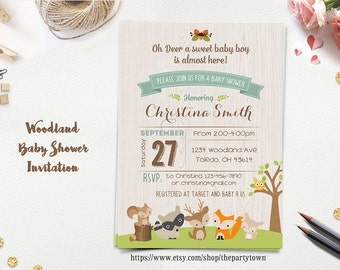 WOODLAND Baby Shower Invitation, Forest Animals, Fox Deer Raccoon BOY Rustic Style Invitation Woodland Flowers Gender Neutral Printable