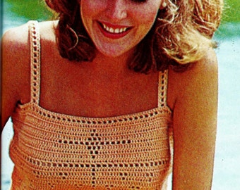 Filet Crochet Camisole Top and Shawl Vintage Crochet Patterns Download