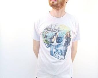Mermaid Skull Tshirt Sailor Nautical Hipster Biker Rockabilly Clothing
