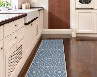 Nice Blue Kitchen Mat, Vinyl Rug, Printed On PVC. Linoleum Rug With Modern  Pattern