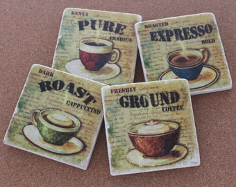 Set of 4 Tumbled Marble Tile Coasters - Coffee Lovers