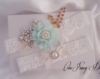 Beaded Lace Wedding Garter Set, Lace Garter Set, Toss Garter, Keepsake Garter, Customizable Handmade