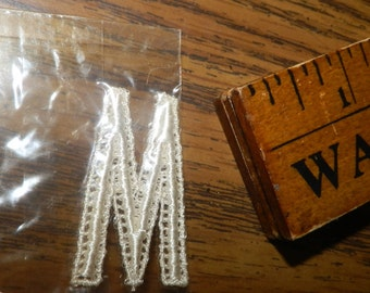 3 Vintage Initial W or M Monogram NEW White Embroidered Lace Art-Linette New-o-gram