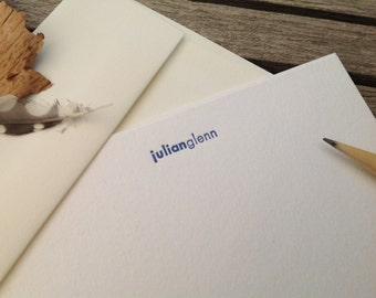 Personalized letterpress stationery - JG - Set of 25 cards & envelopes