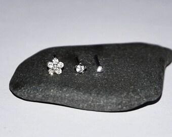 Set of Three Pretty Nose Studs with Diamante Gemstones