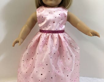 "18 inch SPARKLING PINK Long Gown, 18 inch  AG American Doll, Holiday/Special Occasion Gown, 18"" Doll Clothes, Pink Sparkling Princess Dress!"