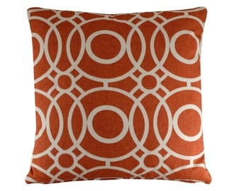 Red Geometric Pillow Cover, Pattern Pillow, Red and White Cushion Cover, Circles Cushion, Modern Cushion, Red Decor, 16x16""