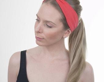 Womens Lipstick Red Skinny Headband, Yoga Hairband, Twist Hairbands, Stretchy Turban Headband, Boho, Knotted Headband, Running, Fit