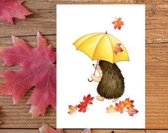 Fall Wall Art hedgehog wall art | etsy