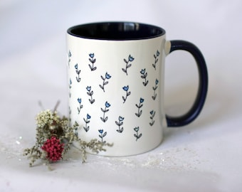 Watercolour Blue Floral Pattern Mug // 11oz