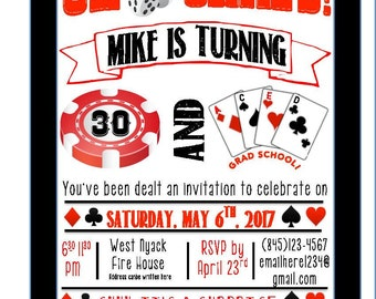 Casino themed birthday invitation