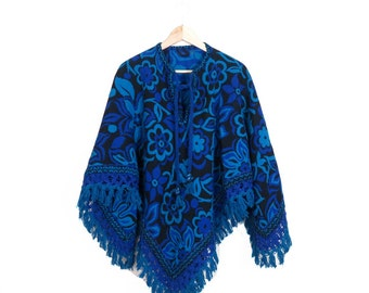 Vintage 70s Reversible Flower Power Knit Poncho