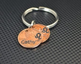 Leo Keychain, Leo Key Chain, Birthday Key Chain, Birthday Keychain, Leo Birthday, Lucky Penny, Penny Keychain, Birthday Gift, Leo