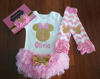 """Pink and gold Minnie Mouse  """"1"""" with  name bodysuit, chiffon tutu Bloomers, chev Lg Warmers, &Hdbnd Set,baby girl,1st Birthday,Cake Smash"""