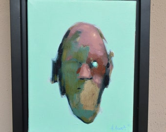 "IT GETS WORSE / original framed oil painting / 8""  x 10"" / contemporary abstract portrait"