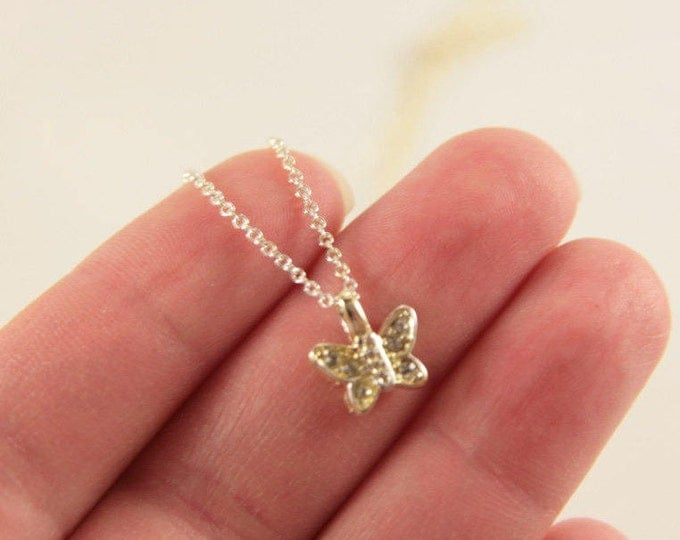 Butterfly Necklace Flower Girl Gift Delicate Sterling Silver Pendant 925 Tiny Butterfly Little Girl Present Sister Confirmation Gift Idea