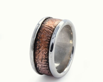 Textured Copper silver band, Shiny silver copper band, Durable ring for men, Wide Infinity ring, Rustic wedding band, two tone everyday ring
