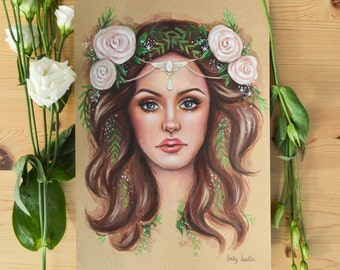 ORIGINAL ACRYLIC PAINTING Female Portrait Woodland Beauty by Emily Luella