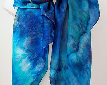 """Ocean Escape - hand-dyed shibori tiedyed large silk scarf in beautiful shades of turquoise ultramarine and orange 180 x 90 cm (68""""x35"""")"""