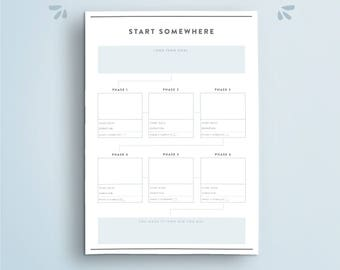 Goal Setting Planner // Minimalistic Goal Breakdown, Habit Tracking, Goal Planner, success plan, vision, daily to do list. Letter. A5 insert