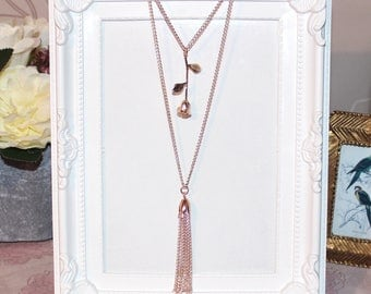 Flapper/Gatsby/1920's long layered rose gold necklace with rose pendant and tassel